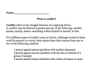 Conflict in Literature: Handout, Graphic Organizer, Activity