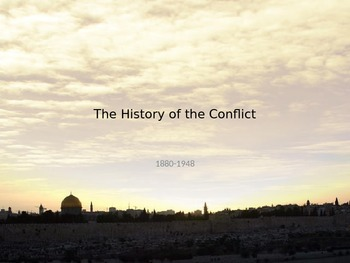 Conflict in the Middle East. Israel Palestine. History from 1880-1948
