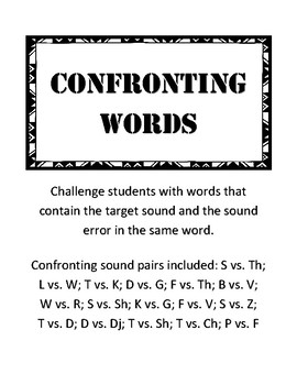 Confronting Words: Articulation Activity