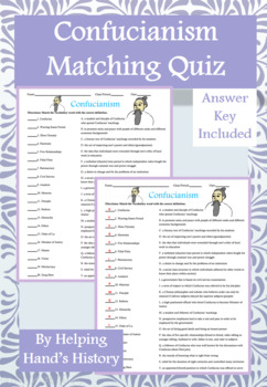Confucianism Activity Matching with Answer Key