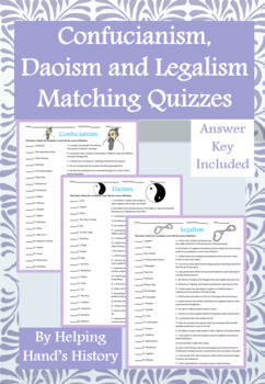 Confucianism, Daoism and Legalism Activity Matching with Answer Keys