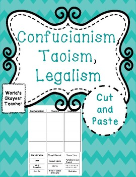 Confucianism, Taoism, and Legalism: Cut and Paste