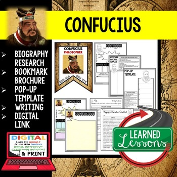 Confucius Biography Research, Bookmark Brochure, Pop-Up Writing Google