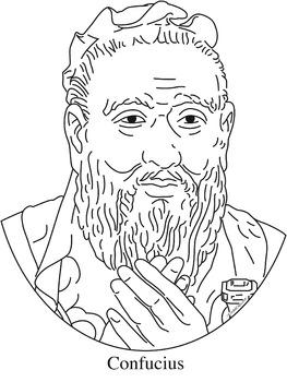 Confucius Clip Art, Coloring Page, or Mini-Poster