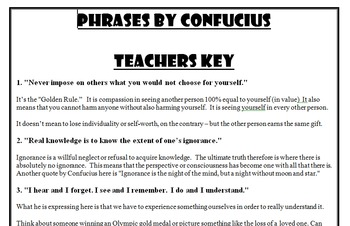 Confucius:  Famous Quotes Activity