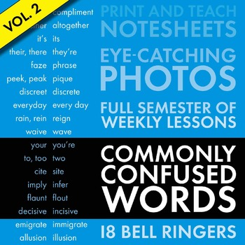 Commonly Confused Words #2, Homophones, Slides + Note-Keeping Sheets CCSS