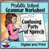 Confusing Parts of Speech Middle School Grammar Worksheet