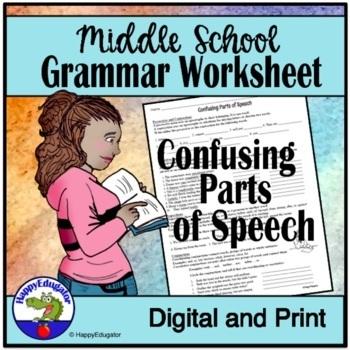 Confusing Parts of Speech Grammar Worksheet