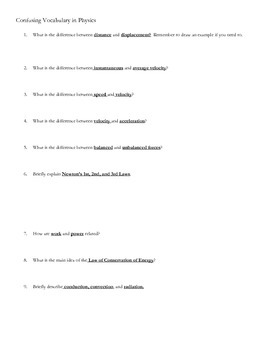 Confusing Physics Vocabulary Review I