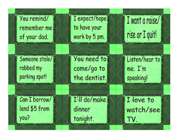 Confusing Verb Cards