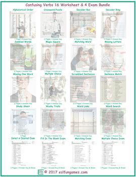 Confusing Verbs 16 Worksheet- 4 Exam Bundle