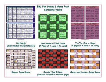 Confusing Verbs 6 Board Game Bundle