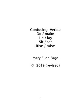 Confusing Verbs: Do/Make, Lie/Lay, etc.