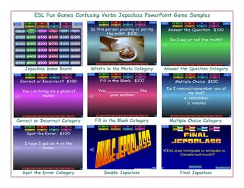 Confusing Verbs Jeopardy PowerPoint Game