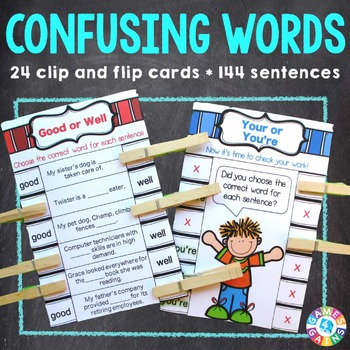 Confusing Words Activity: 24 Confusing Words Task Cards (C