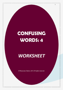 Confusing Words:4 Worksheet