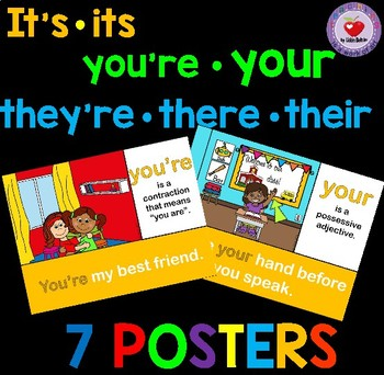 Confusing Words Posters: its/it's, you're/your and there/their/they're