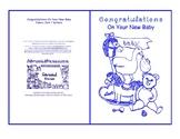 Congratulation On Your New Baby Nursery Toys Room Blue Line Art Card printable