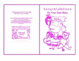 Congratulation On Your New Baby Nursery Toys Room Pink Line Art Card printable