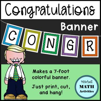 Congratulations Banner (Black & Multi-Color)
