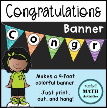 Congratulations Banner (Polka Dot Triangles)