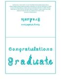 Congratulations Graduate 7x5 card printable sheet with aqua blue fabric letters