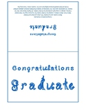 Congratulations Graduate 7x5 card printable sheet with blue fabric letters