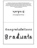 Congratulations Graduate 7x5 card printable sheet with fabric letters