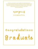 Congratulations Graduate 7x5 card printable sheet with gold fabric letters