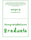 Congratulations Graduate 7x5 card printable sheet with green fabric letters