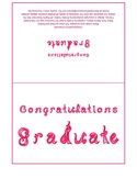 Congratulations Graduate 7x5 card printable sheet with hot pink fabric letters