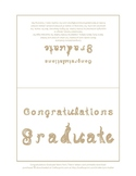 Congratulations Graduate 7x5 card printable sheet with neutral fabric letters