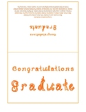 Congratulations Graduate 7x5 card printable sheet with orange fabric letters