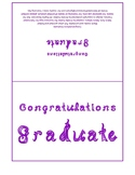 Congratulations Graduate 7x5 card printable sheet with purple fabric letters