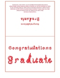 Congratulations Graduate 7x5 card printable sheet with red fabric letters