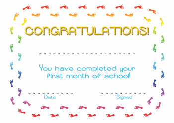 Congratulations! You have completed your first month of school!