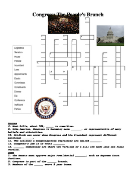 US Government: Congress Crossword Puzzle or Web Quest