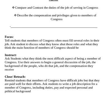 Congress: Duties, Jobs, Pay, Services