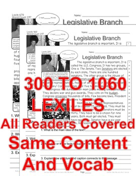 Congress Legislative Branch FACTS Close Read 5 Level Passage ALL-READERS-COVERED