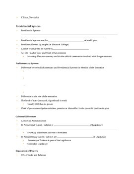 Congress & Legislative Branch Note Sheet