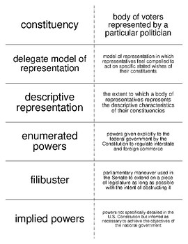 Congress Vocabulary Flash Cards for American Government