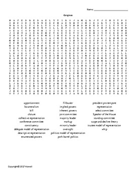 Congress Vocabulary Word Search for American Government