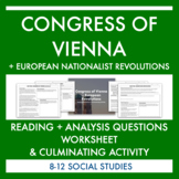 Congress of Vienna Reading & Activity