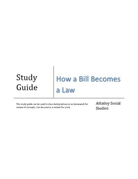 Congressional and How A Bill Becomes A Law Study Guide 1