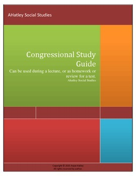 Congressional and How A Bill Becomes A Law Study Guide 2