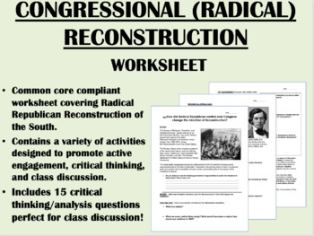 Congressional/Radical Reconstruction worksheet - US History Common Core