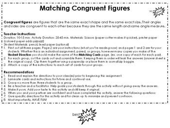 Congruent Figures Matching Center