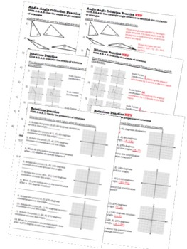 Congruence & Similarity Worksheets & Test - 8th Grade