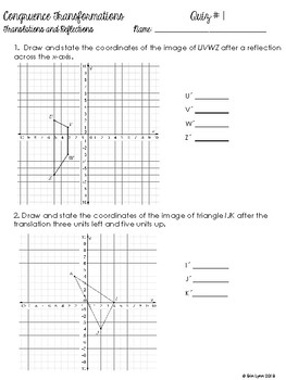 Congruence Transformations Assessments or Resource 8th Grade  Go Math