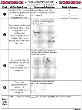 Congruence Transformations Student Scale and Organizer 8.G.A.1 8.G.A.2 Go Math